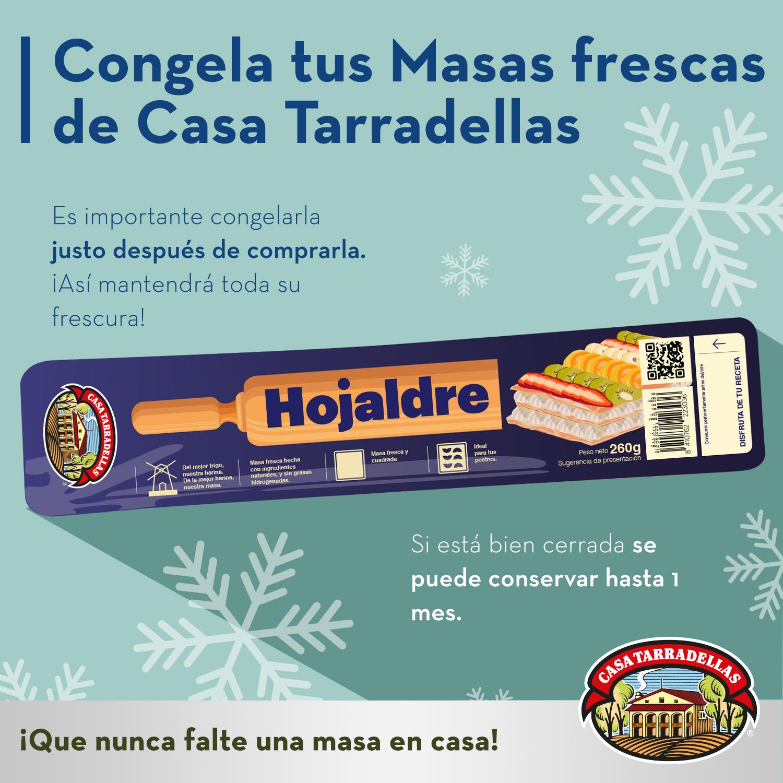 Congela tus Masas frescas de Casa Tarradellas. Es importante congelarla justo después de comprarla. ¡Así mantendrá toda su frescura! Si está bien cerrada se puede conservar hasta 1 mes.